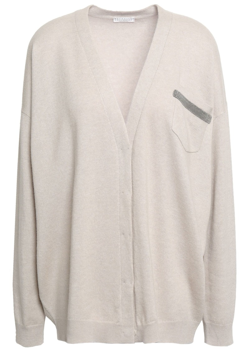 Brunello Cucinelli Woman Bead-embellished Cashmere Cardigan Neutral