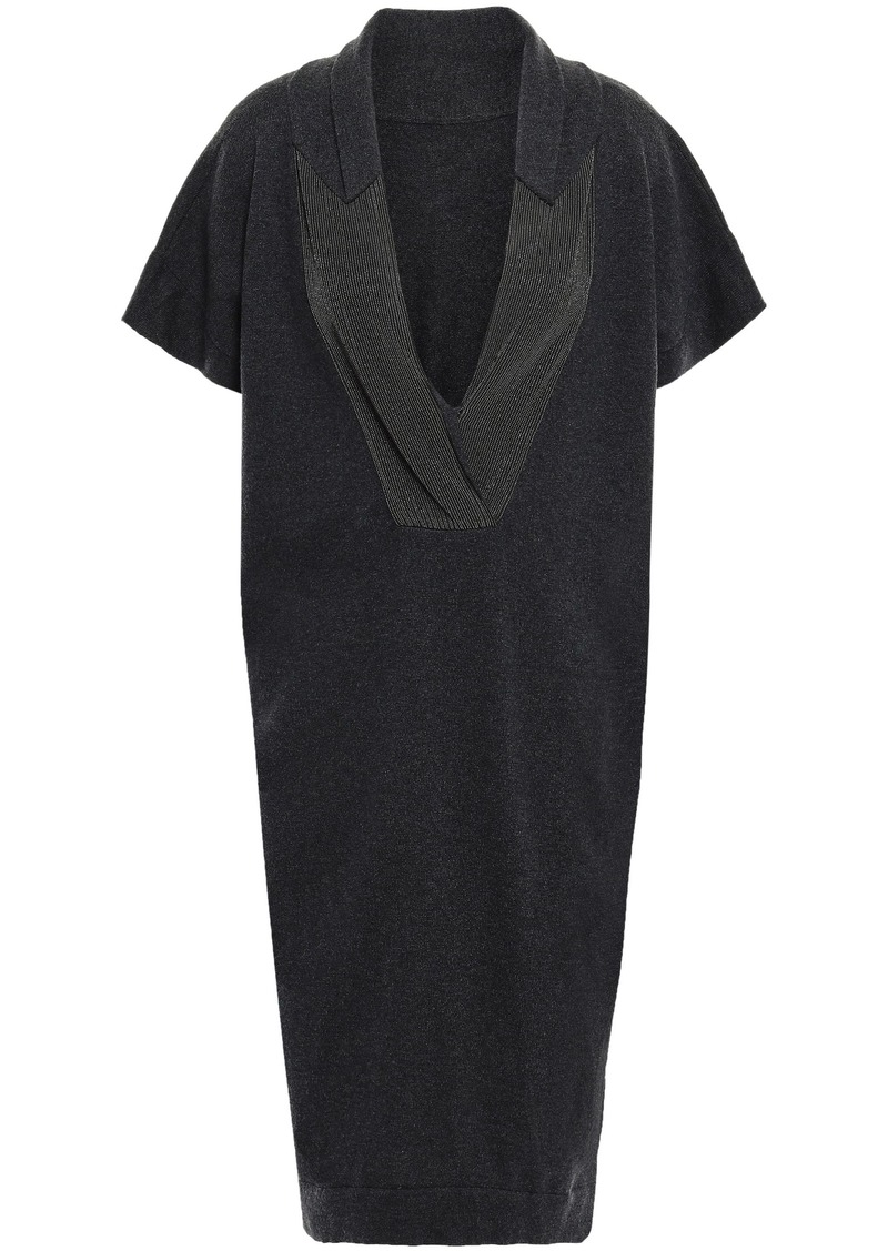 Brunello Cucinelli Woman Bead-embellished Cashmere Dress Dark Gray