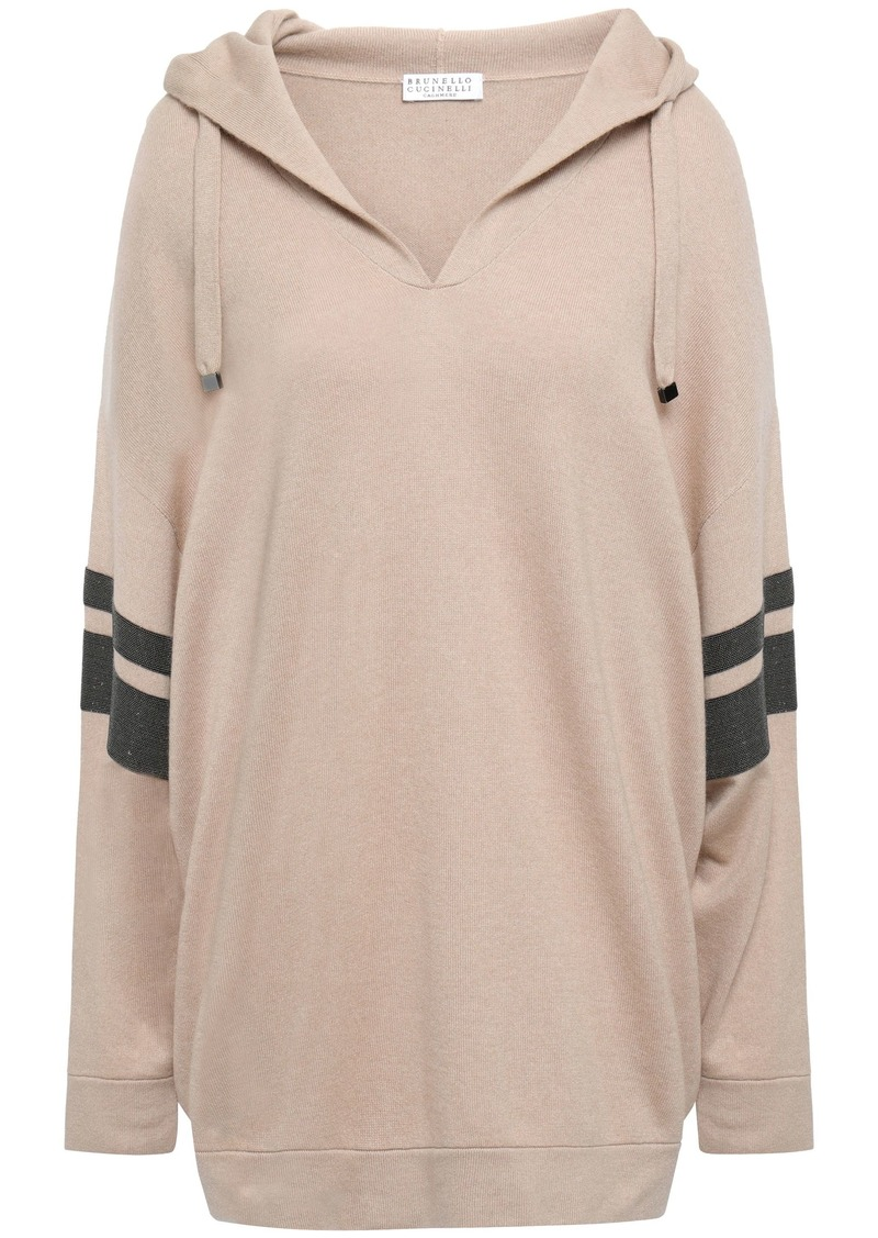 Brunello Cucinelli Woman Bead-embellished Cashmere Hooded Sweater Neutral
