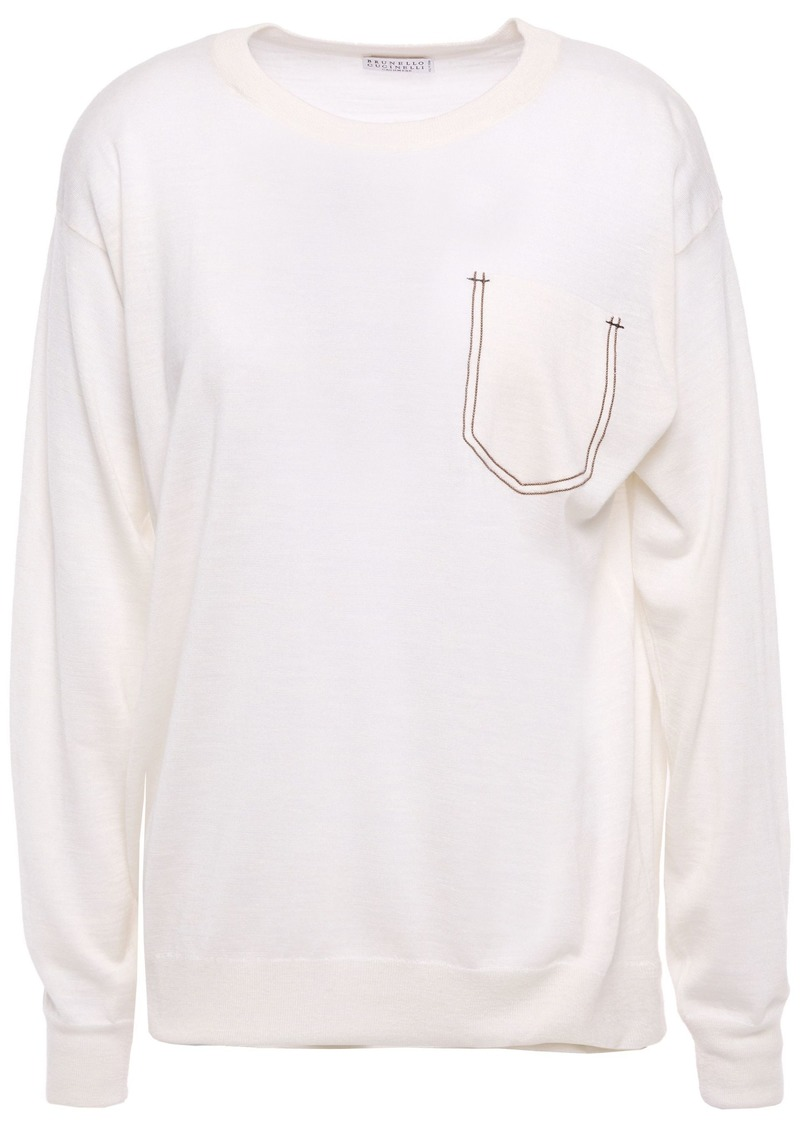 Brunello Cucinelli Woman Bead-embellished Cashmere Silk And Hemp-blend Top Off-white