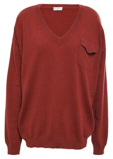 Brunello Cucinelli Woman Bead-embellished Cashmere Sweater Brick