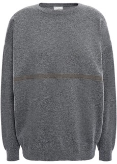 Brunello Cucinelli Woman Bead-embellished Cashmere Sweater Dark Gray
