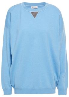 Brunello Cucinelli Woman Bead-embellished Cashmere Sweater Light Blue