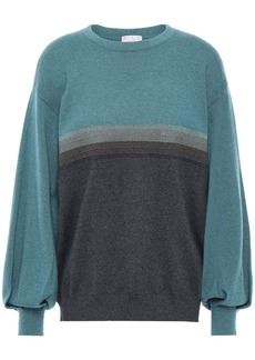 Brunello Cucinelli Woman Bead-embellished Metallic-trimmed Cashmere Sweater Petrol