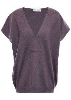 Brunello Cucinelli Woman Bead-embellished Cashmere Sweater Purple