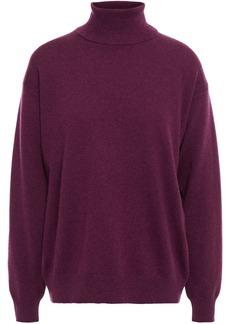 Brunello Cucinelli Woman Bead-embellished Cashmere Turtleneck Sweater Plum