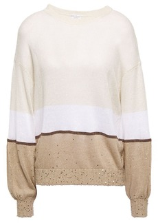 Brunello Cucinelli Woman Bead-embellished Color-block Linen And Silk-blend Sweater Neutral