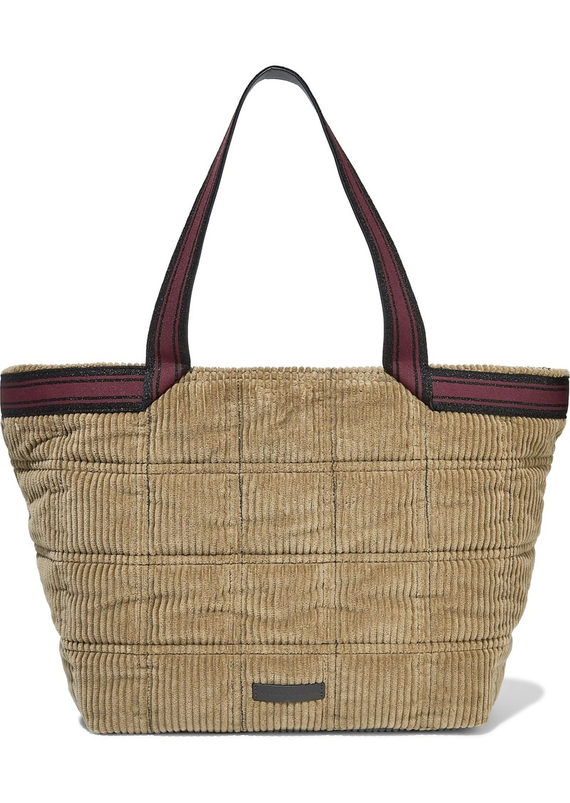 Brunello Cucinelli Woman Bead-embellished Leather-trimmed Corduroy Tote Sand