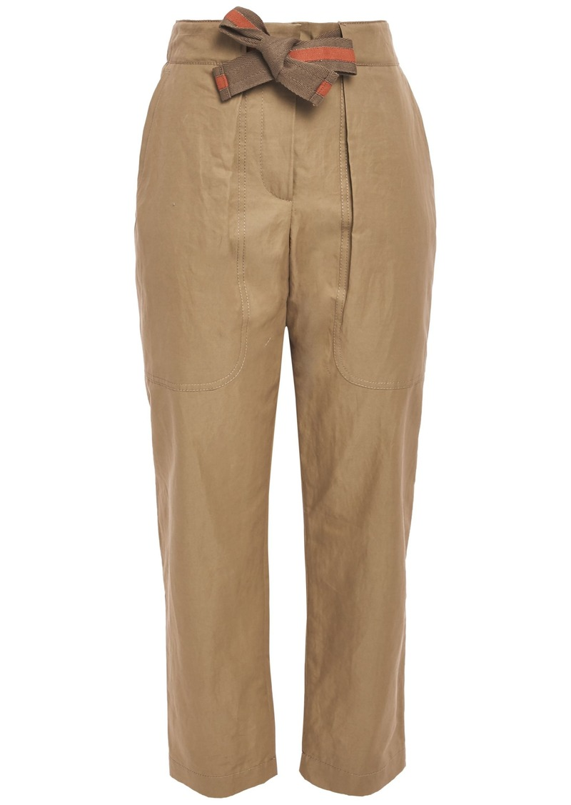 Brunello Cucinelli Woman Bead-embellished Cotton And Ramie-blend Tapered Pants Sand