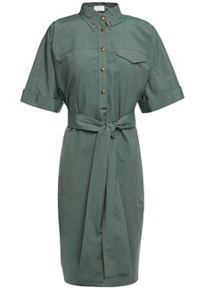 Brunello Cucinelli Woman Bead-embellished Cotton And Silk-blend Shirt Dress Grey Green
