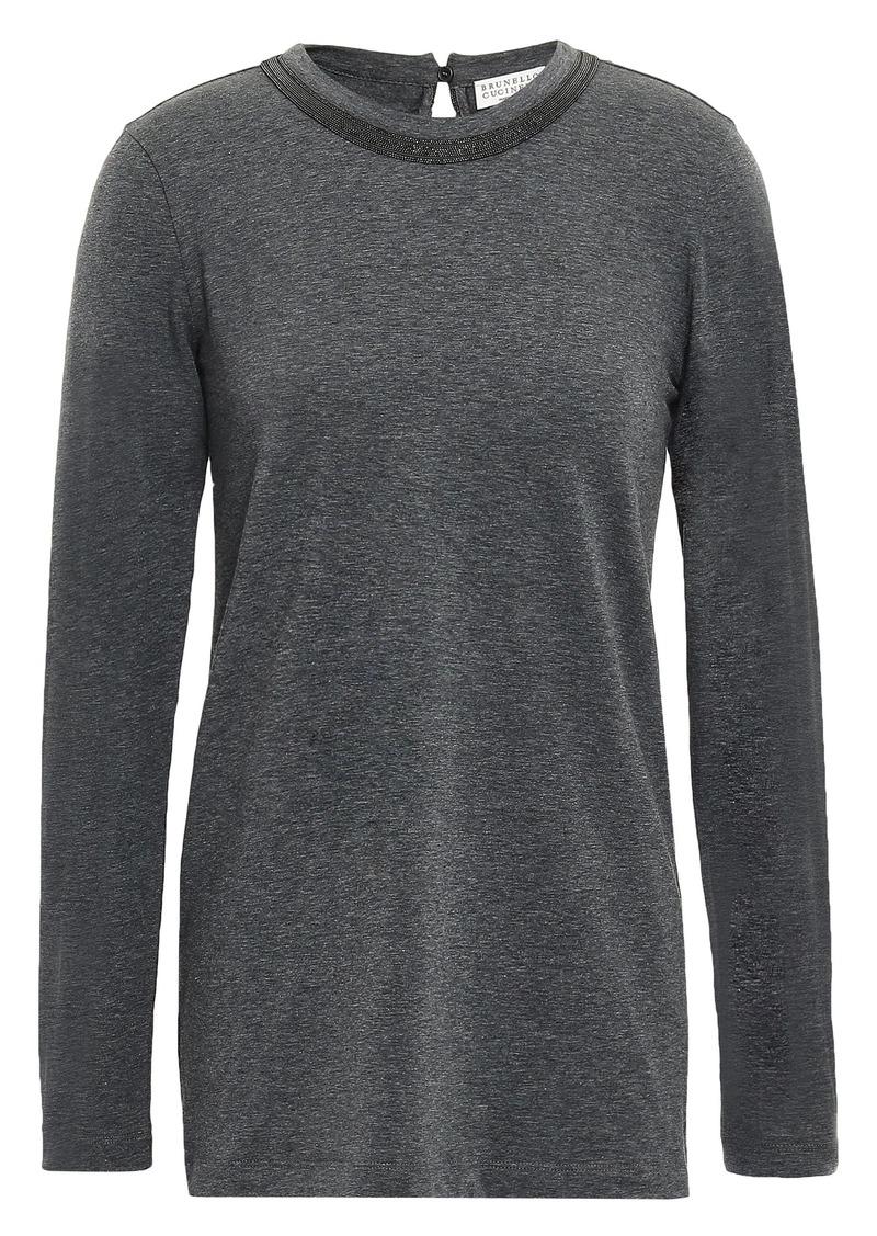 Brunello Cucinelli Woman Bead-embellished Cotton-blend Jersey Top Dark Gray