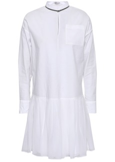 Brunello Cucinelli Woman Bead-embellished Cotton-blend Poplin And Pleated Chiffon Mini Dress White