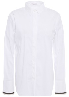 Brunello Cucinelli Woman Bead-embellished Cotton-blend Poplin Shirt White