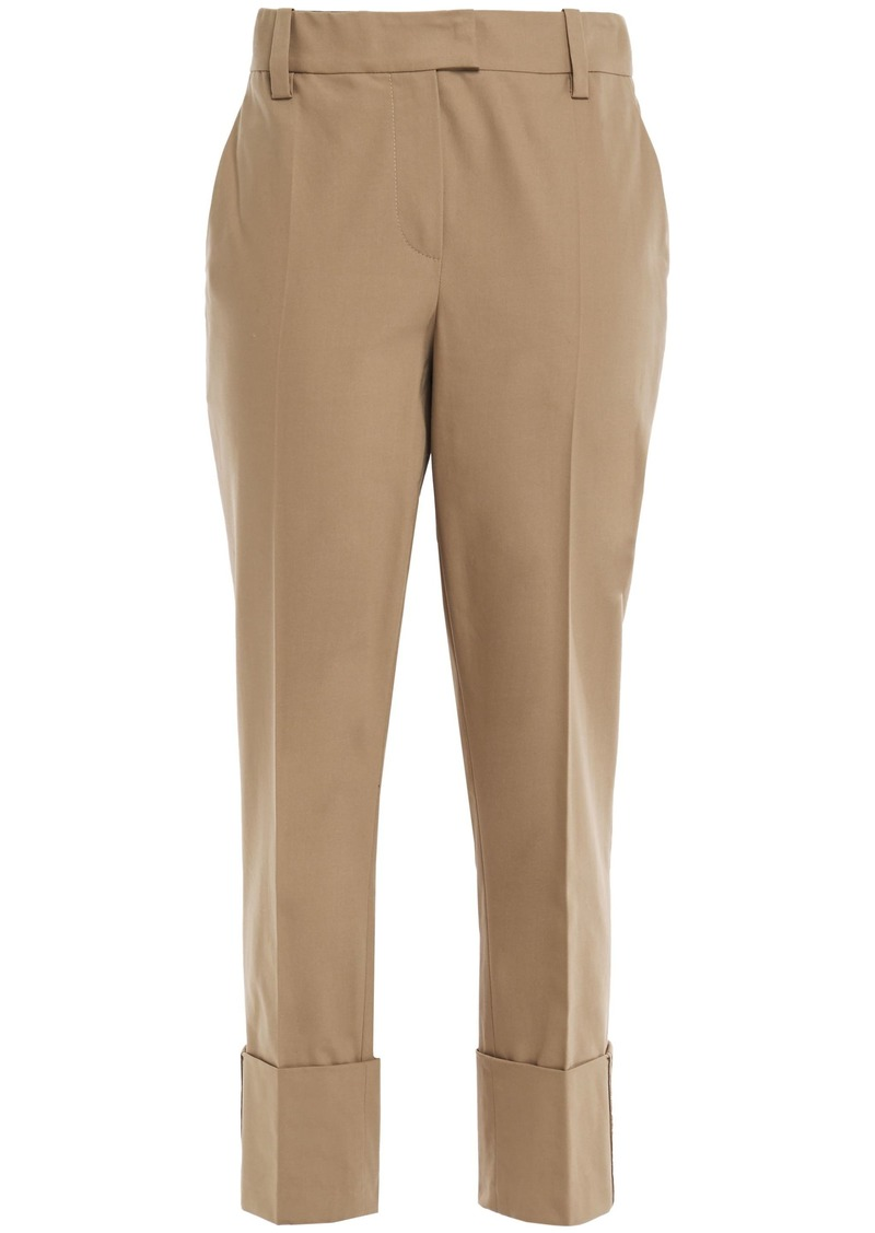 Brunello Cucinelli Woman Bead-embellished Cotton-blend Tapered Pants Sand