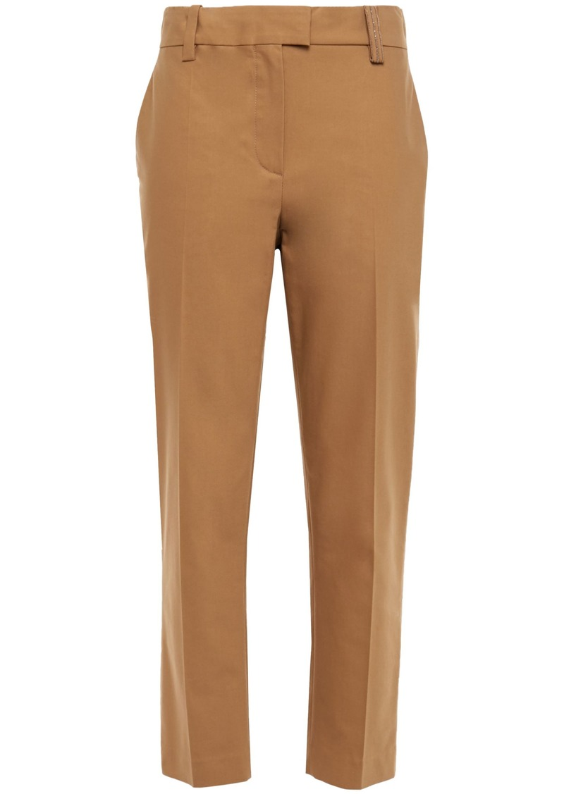 Brunello Cucinelli Woman Bead-embellished Cotton-blend Twill Straight-leg Pants Camel