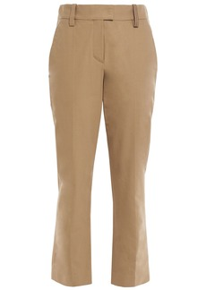 Brunello Cucinelli Woman Bead-embellished Cotton-blend Twill Straight-leg Pants Sand