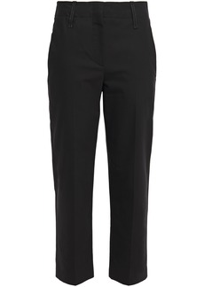 Brunello Cucinelli Woman Bead-embellished Cotton-blend Twill Tapered Pants Black