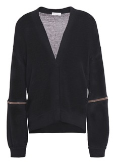 Brunello Cucinelli Woman Bead-embellished Cotton Cardigan Black