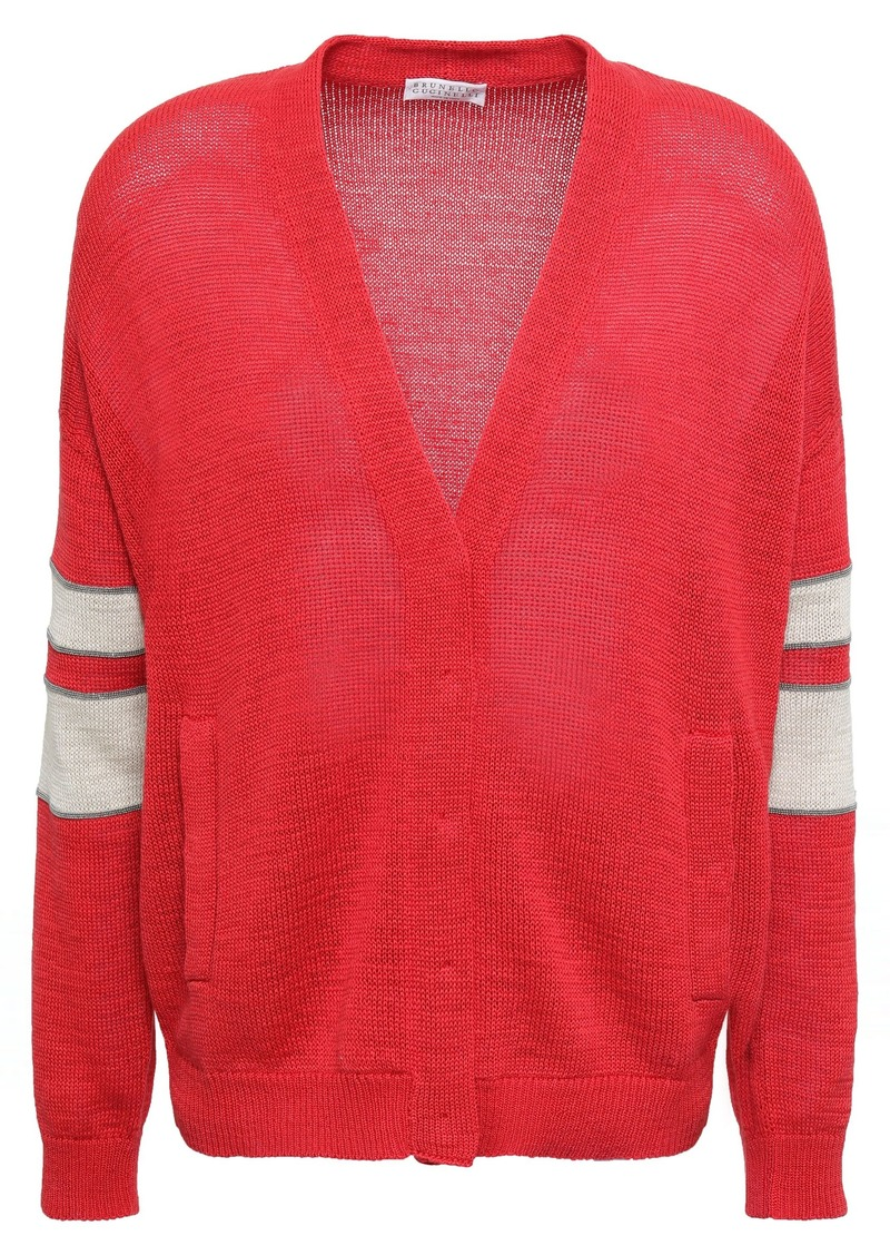 Brunello Cucinelli Woman Bead-embellished Cotton Cardigan Tomato Red