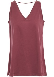 Brunello Cucinelli Woman Bead-embellished Cotton-jersey Tank Claret