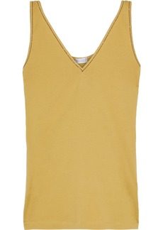Brunello Cucinelli Woman Bead-embellished Cotton-jersey Tank Mustard