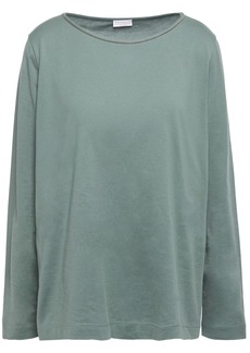 Brunello Cucinelli Woman Bead-embellished Cotton-jersey Top Grey Green