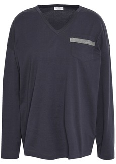 Brunello Cucinelli Woman Bead-embellished Cotton-jersey Top Navy