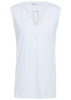 Brunello Cucinelli Woman Bead-embellished Cotton-jersey Top White