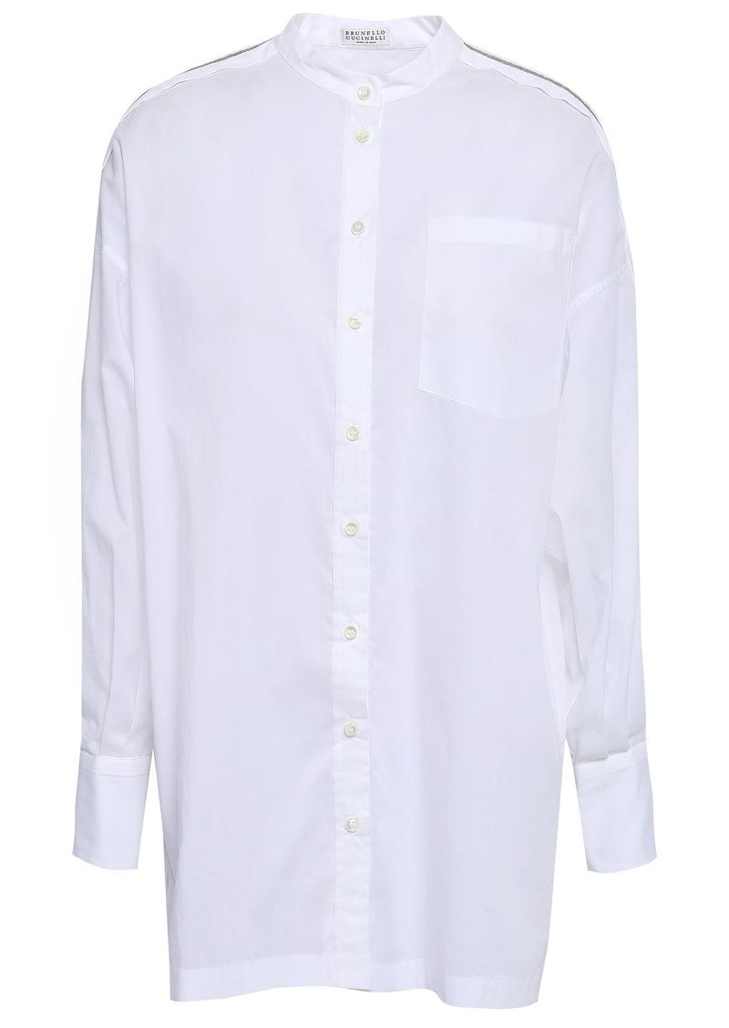 Brunello Cucinelli Woman Bead-embellished Cotton-poplin Shirt White