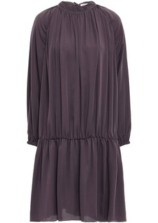 Brunello Cucinelli Woman Bead-embellished Crepe De Chine Dress Dark Purple