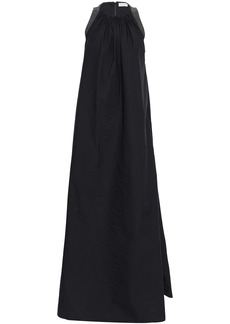 Brunello Cucinelli Woman Bead-embellished Crinkled Cotton-blend Poplin Gown Black