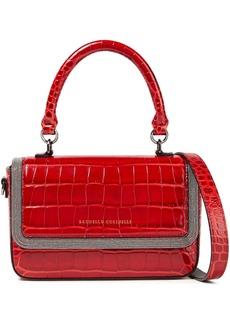 Brunello Cucinelli Woman Bead-embellished Croc-effect Leather Shoulder Bag Red