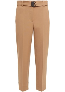 Brunello Cucinelli Woman Bead-embellished Cropped Crepe Tapered Pants Camel