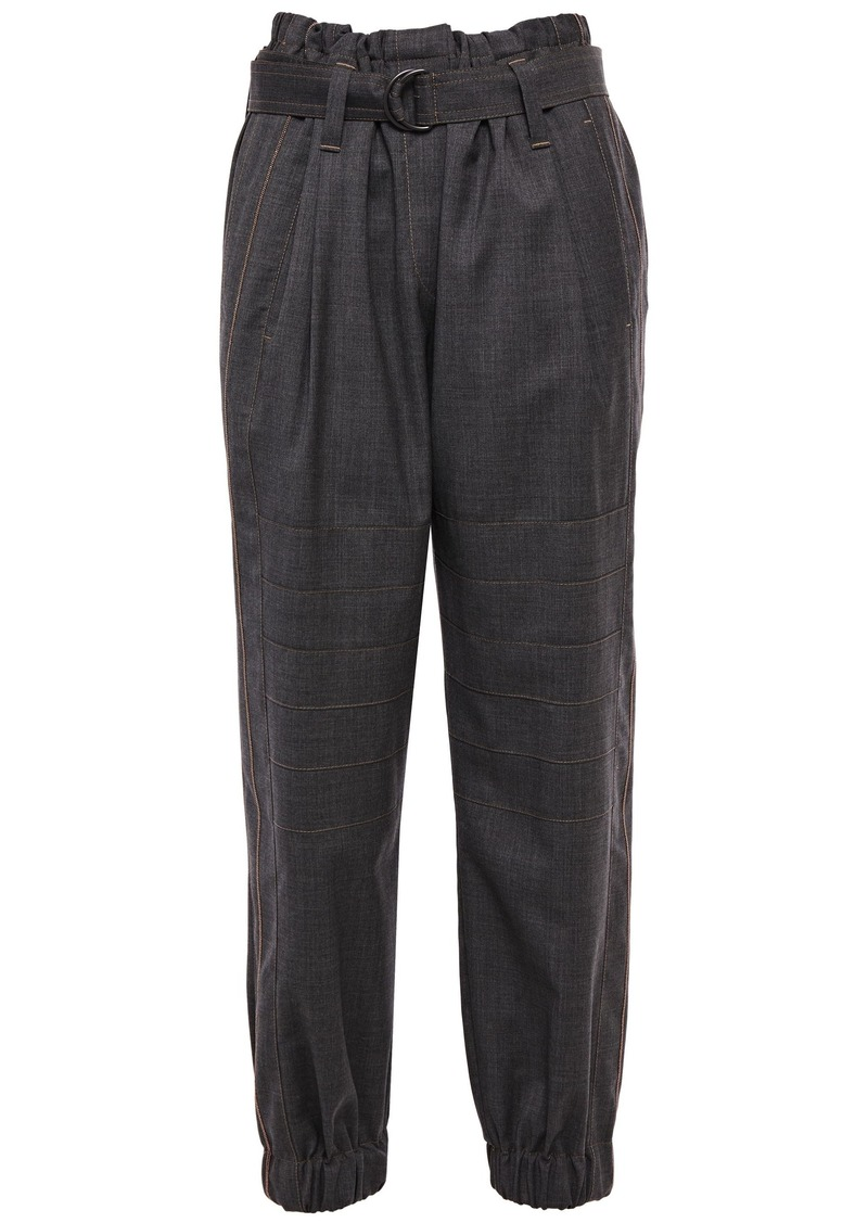 Brunello Cucinelli Woman Bead-embellished Cropped Wool Tapered Pants Dark Gray