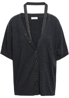 Brunello Cucinelli Woman Bead-embellished Cutout Cashmere Cardigan Charcoal