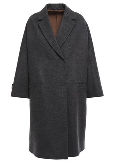 Brunello Cucinelli Woman Bead-embellished Double-breasted Wool And Cashmere-blend Coat Anthracite