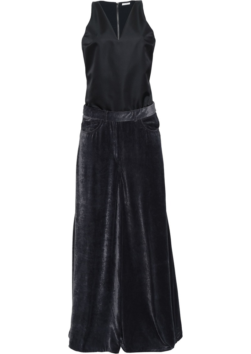 Brunello Cucinelli Woman Bead-embellished Faille And Crushed-velvet Jumpsuit Black