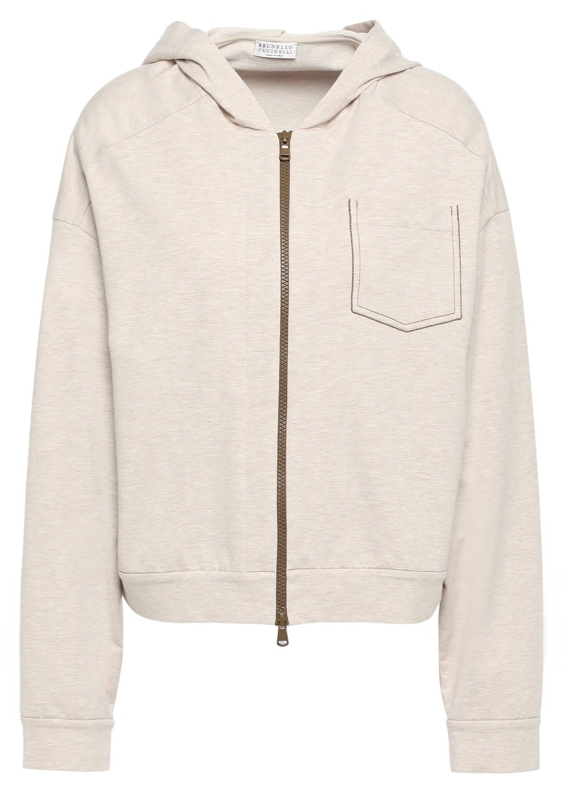Brunello Cucinelli Woman Bead-embellished French Cotton-blend Terry Hoodie Neutral