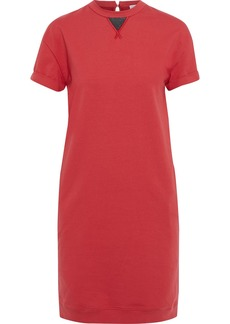 Brunello Cucinelli Woman Bead-embellished French Cotton-blend Terry Mini Dress Red