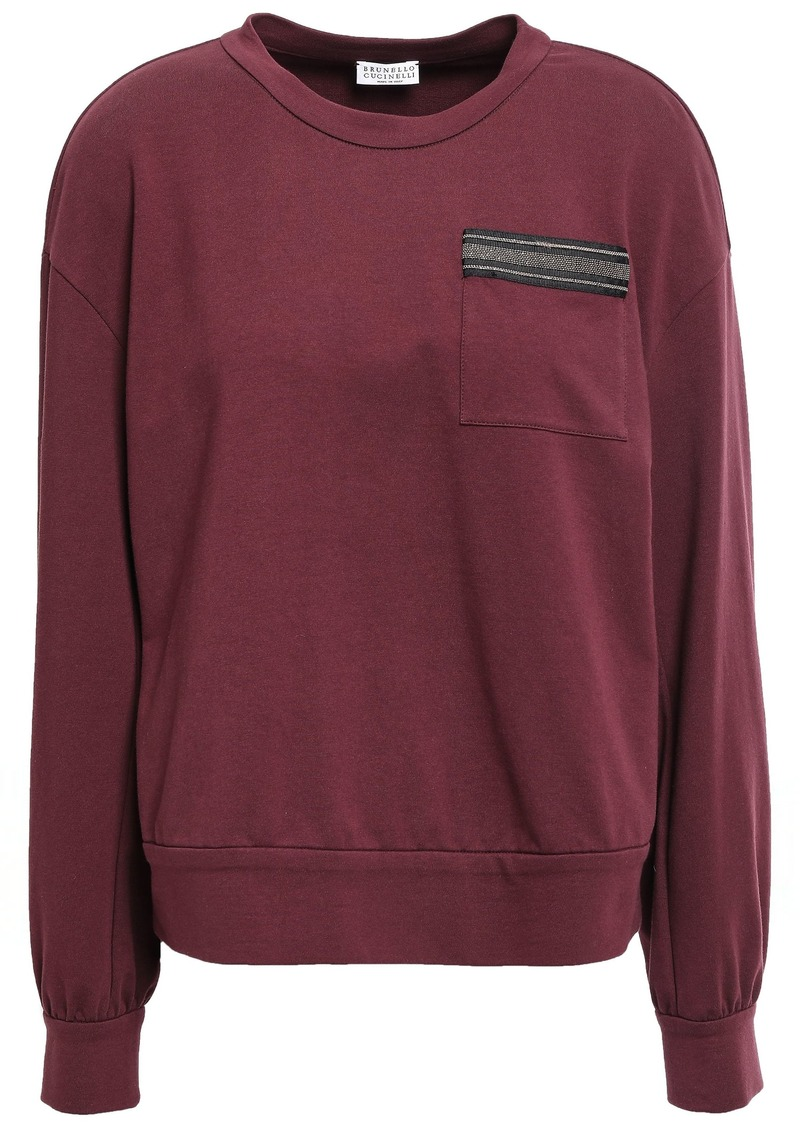 Brunello Cucinelli Woman Bead-embellished French Cotton-blend Terry Sweatshirt Grape