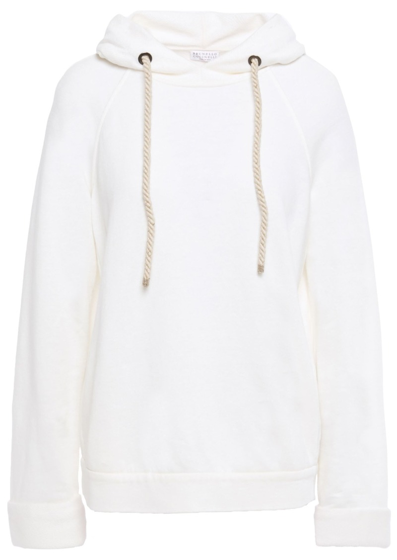 Brunello Cucinelli Woman Bead-embellished French Linen And Cotton-blend Terry Hoodie Ivory