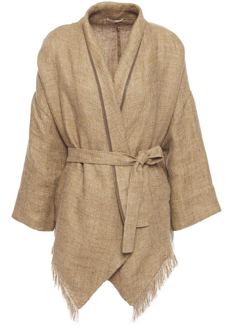 Brunello Cucinelli Woman Bead-embellished Fringed Linen Jacket Sand