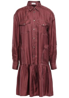 Brunello Cucinelli Woman Bead-embellished Gathered Silk-twill Mini Shirt Dress Plum