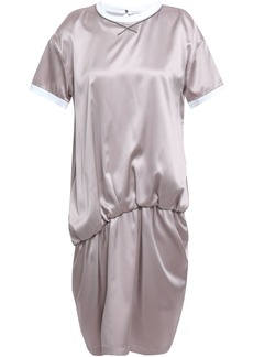 Brunello Cucinelli Woman Bead-embellished Gathered Stretch-silk Satin Mini Dress Lilac