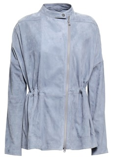 Brunello Cucinelli Woman Stretch Knit-paneled Suede Jacket Sky Blue