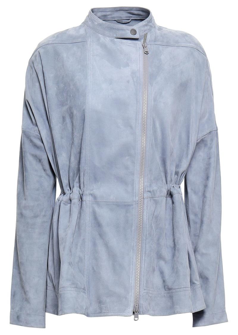 Brunello Cucinelli Woman Stretch Knit-paneled Suede Jacket Sky Blue