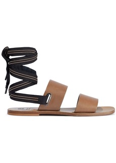 Brunello Cucinelli Woman Bead-embellished Grosgrain-trimmed Leather Sandals Brown