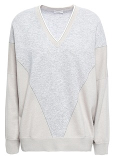 Brunello Cucinelli Woman Bead-embellished Intarsia-knit Cashmere Sweater Stone