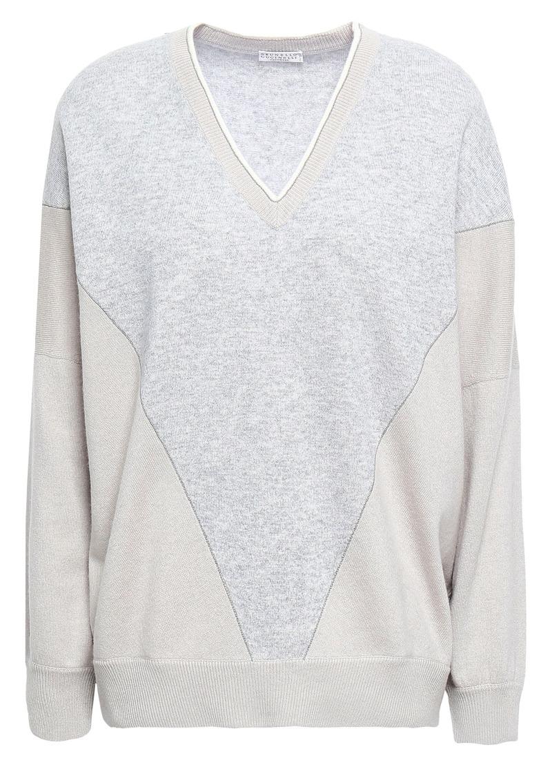 Brunello Cucinelli Woman Bead-embellished Intarsia-knit Cashmere Sweater Stone