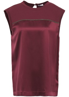 Brunello Cucinelli Woman Bead-embellished Jersey-paneled Silk-blend Satin Top Plum